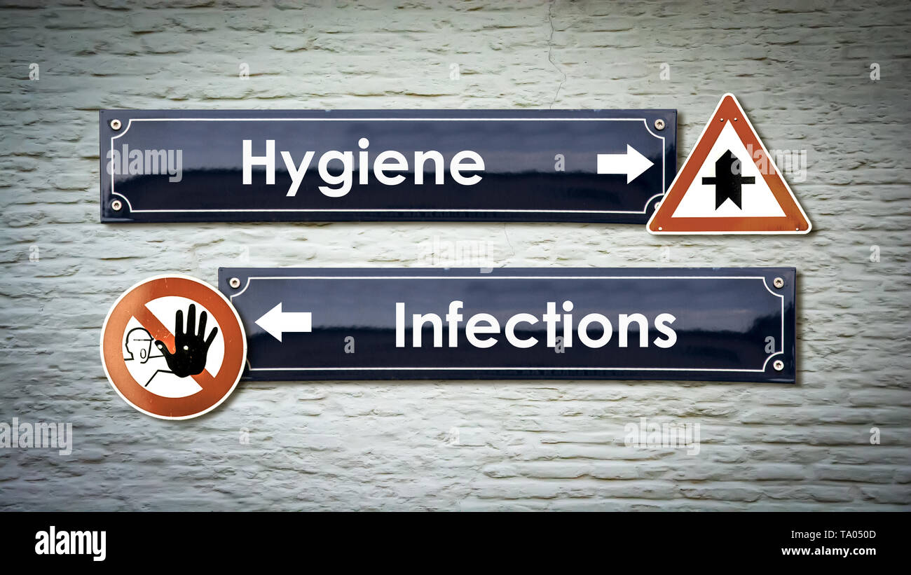 Street Sign the Direction Way to Hygiene versus Infections - Stock Image