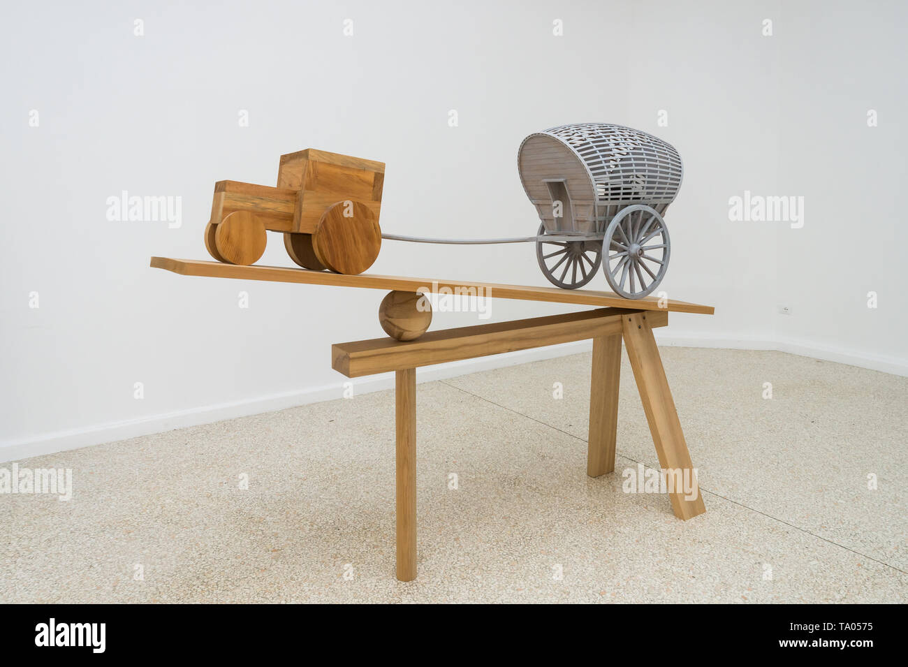 Martin Puryear, New Voortrekker, 2018, sculpture, Liberty / Libertà exhibition, United States Pavilion, 58th Venice Art Biennale 2019 - Stock Image