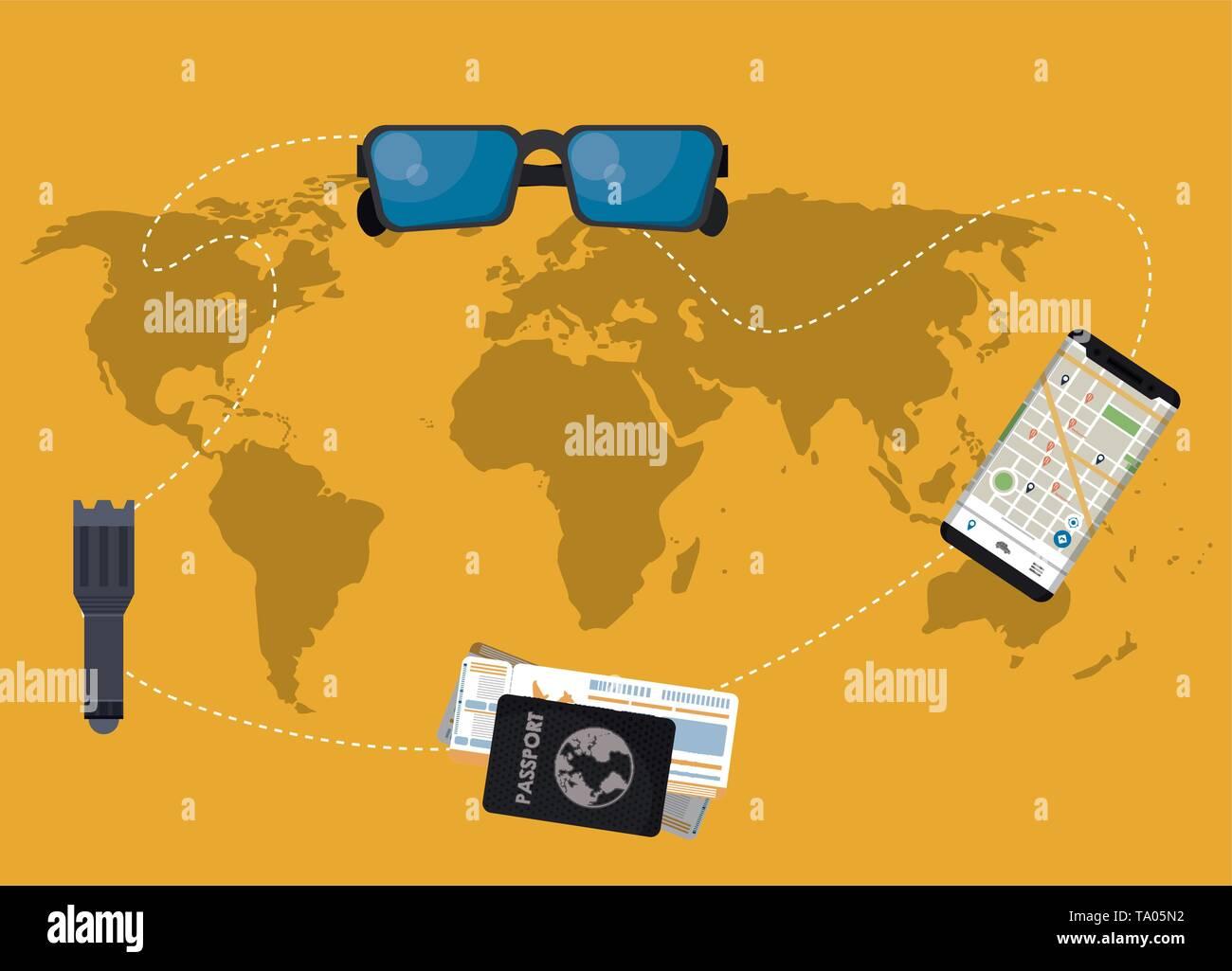 Travel elements on world map - Stock Image