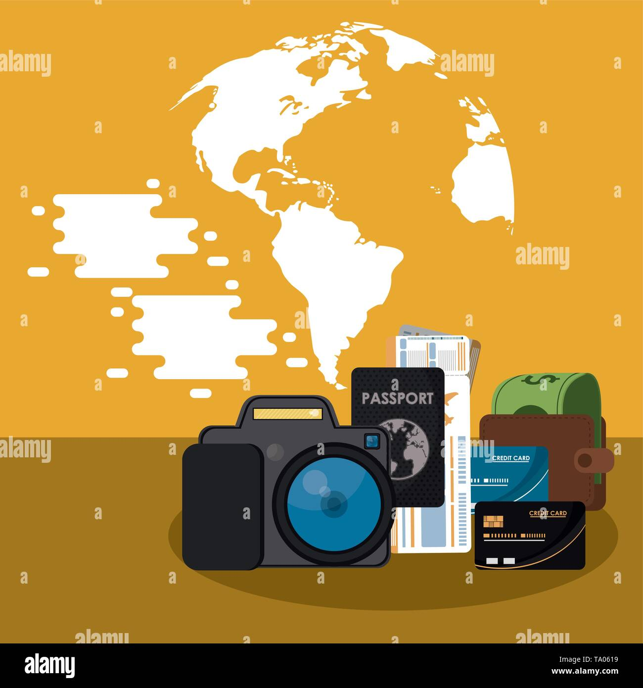 Travel and vacations elements - Stock Image