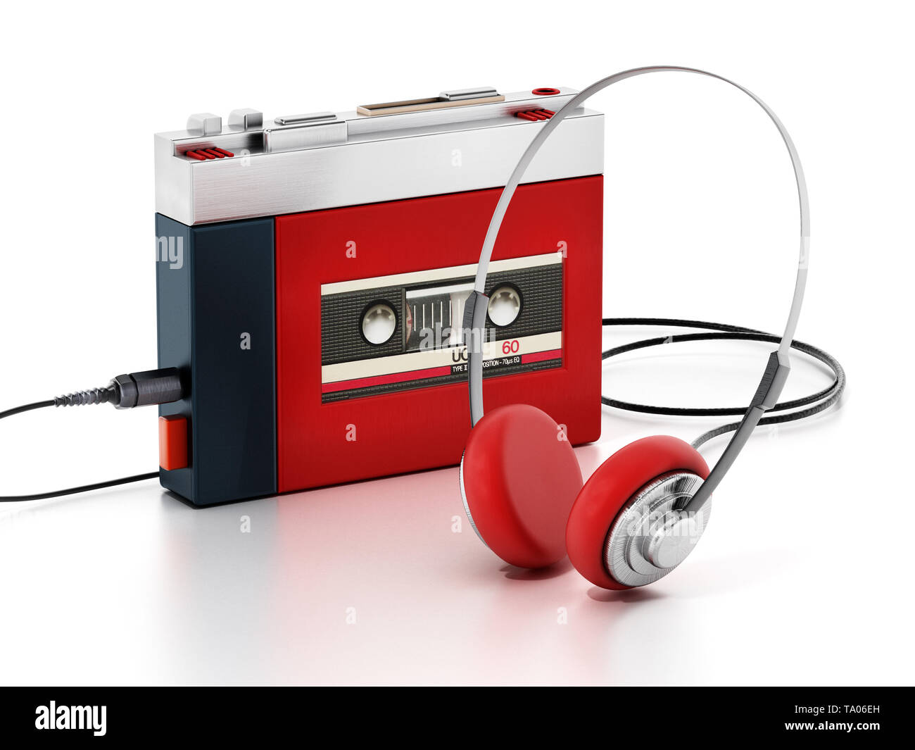 Retro portable cassette player isolated on white background. 3D illustration. - Stock Image