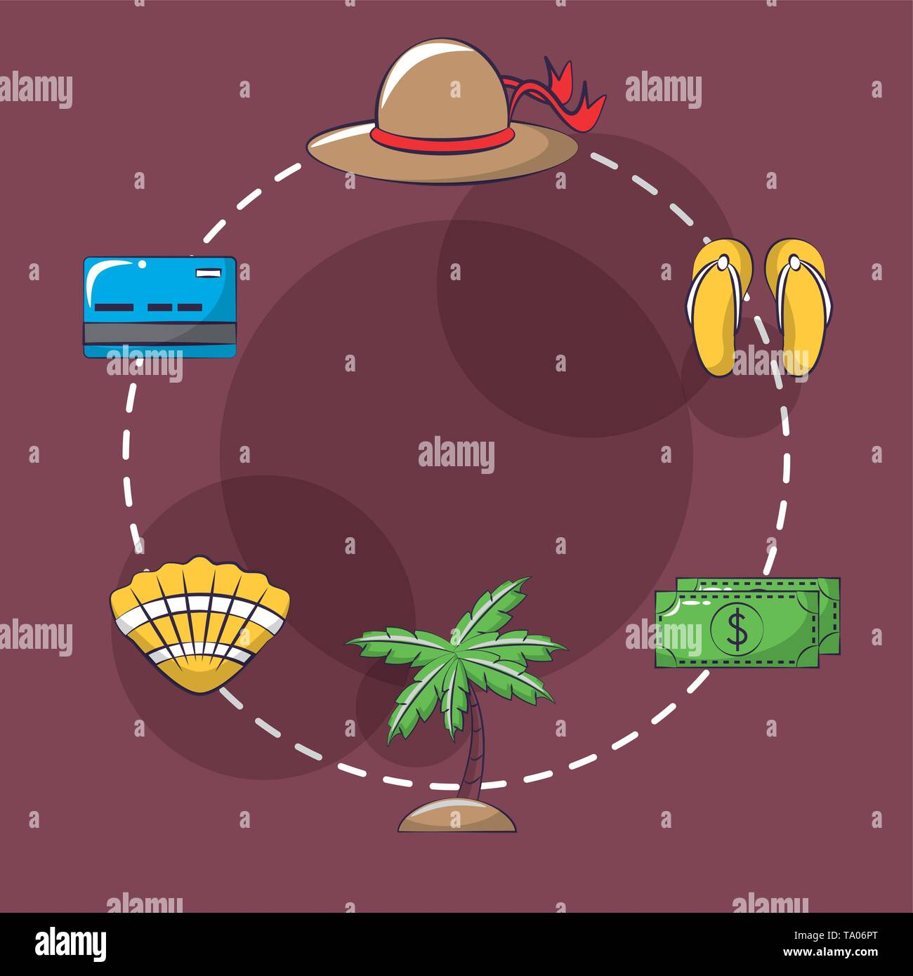 Travel and vacations cartoon icons - Stock Image