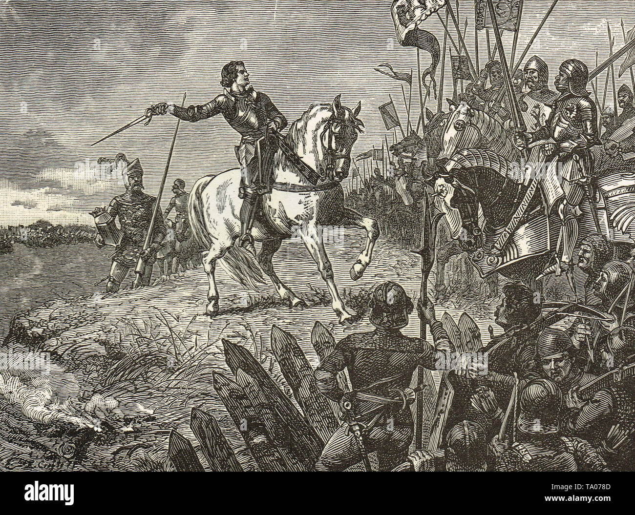 Henry V at the Battle of Agincourt, Saint Crispin's Day, 25 October 1415 - Stock Image