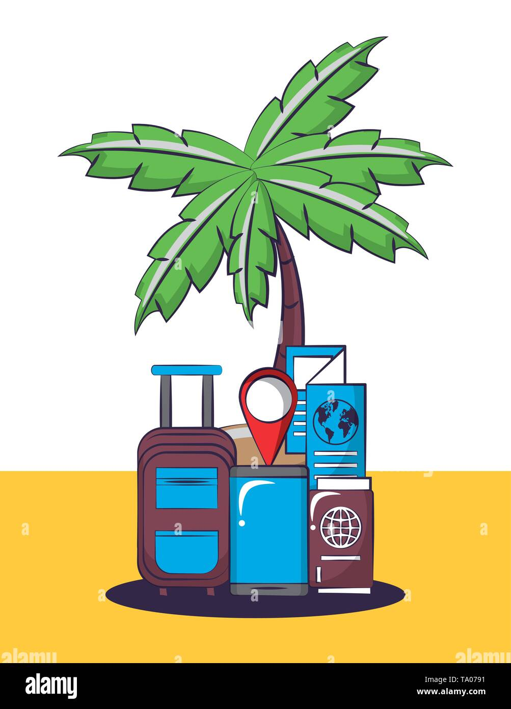 Travel and vacations cartoons - Stock Image