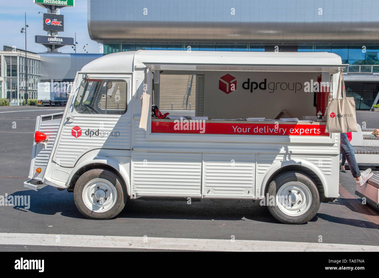 DPD Information Van At At The World Retail Congress At The Rai Complex Amsterdam The Netherlands 2019 - Stock Image