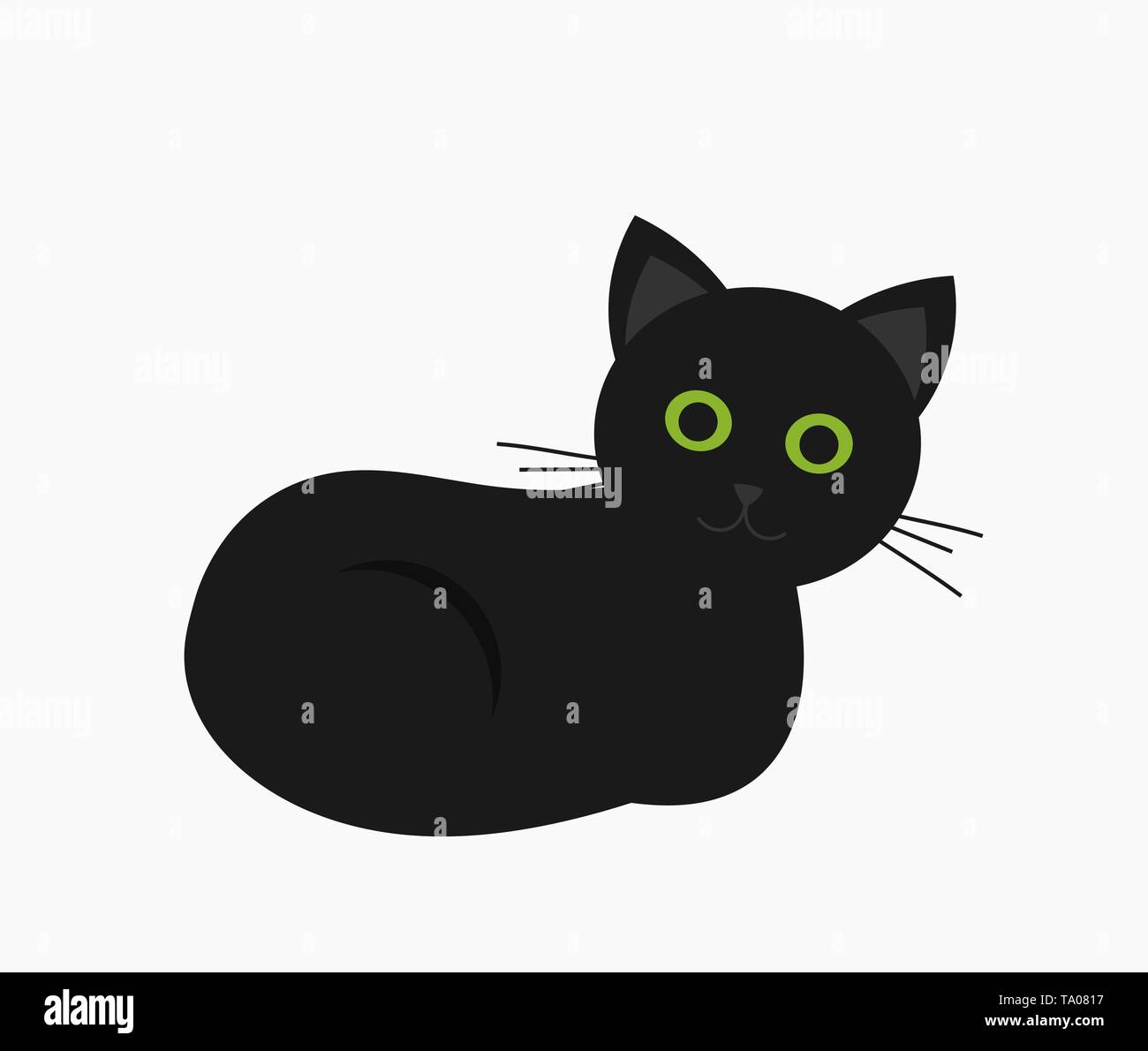 Cute black cat with green eyes. Vector illustration - Stock Image