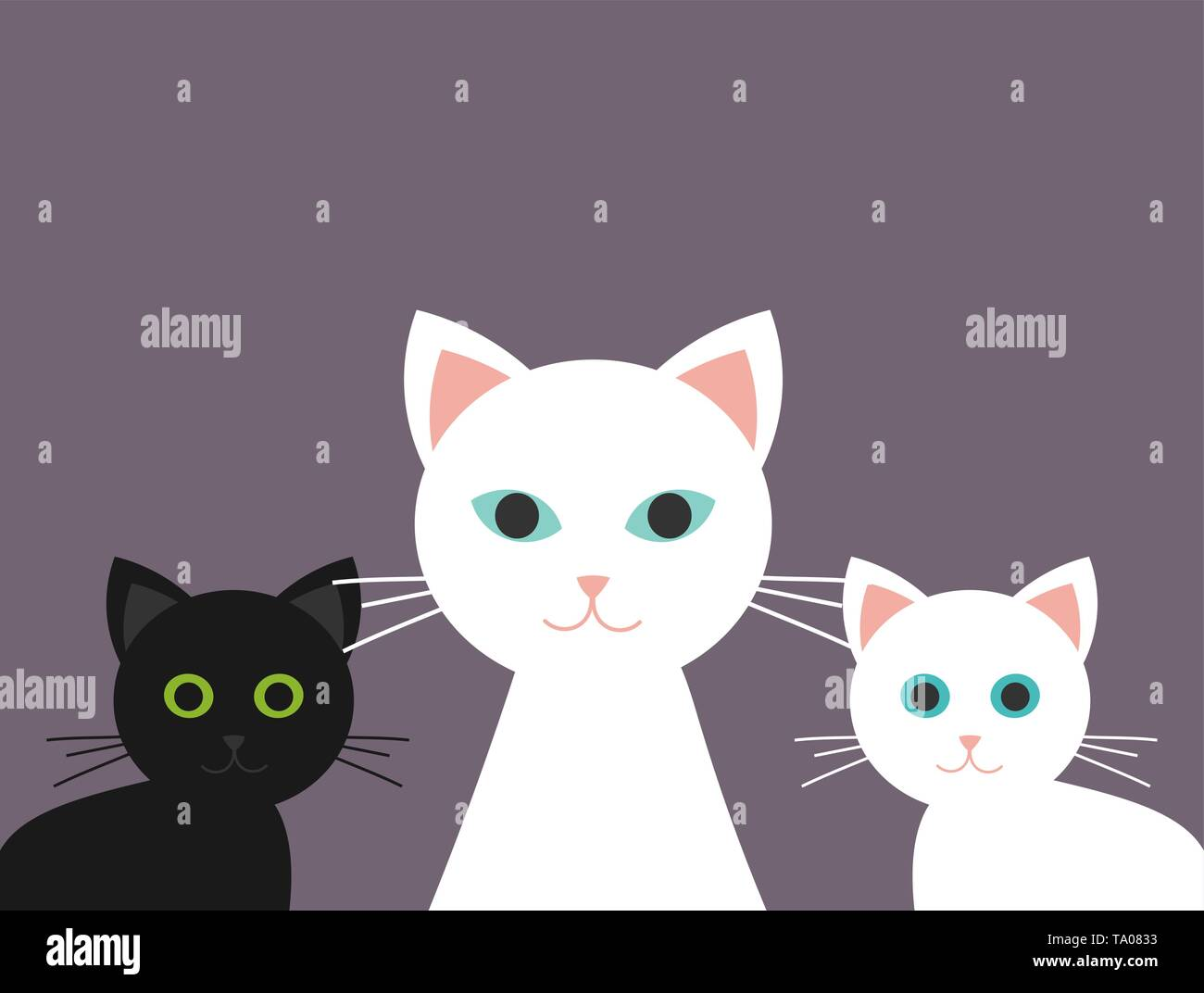 Cat family, two kittens and mother. Vector illustration - Stock Image
