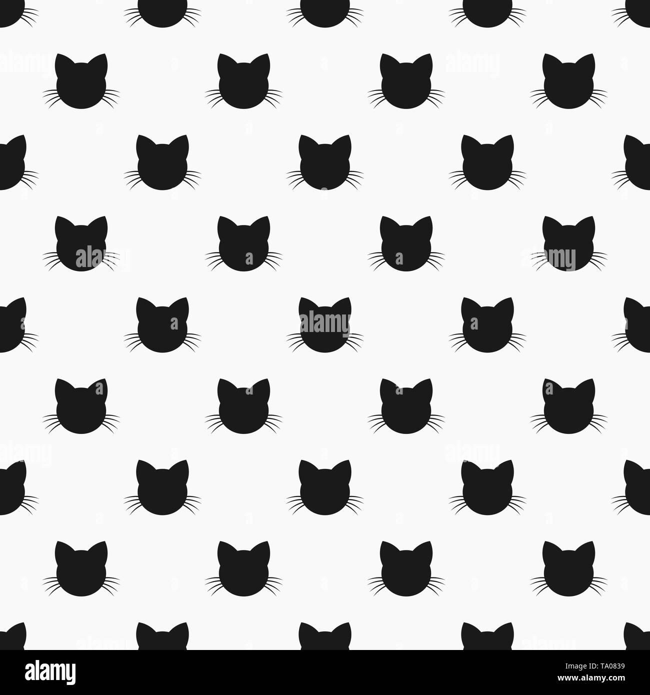 Cat head seamless pattern. Vector illustration - Stock Image