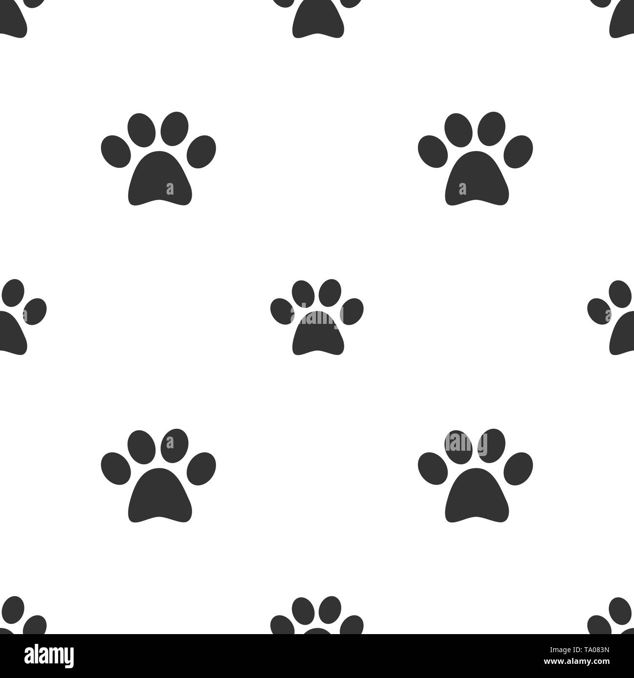 Animal cat or dog footprint seamless pattern - Stock Image