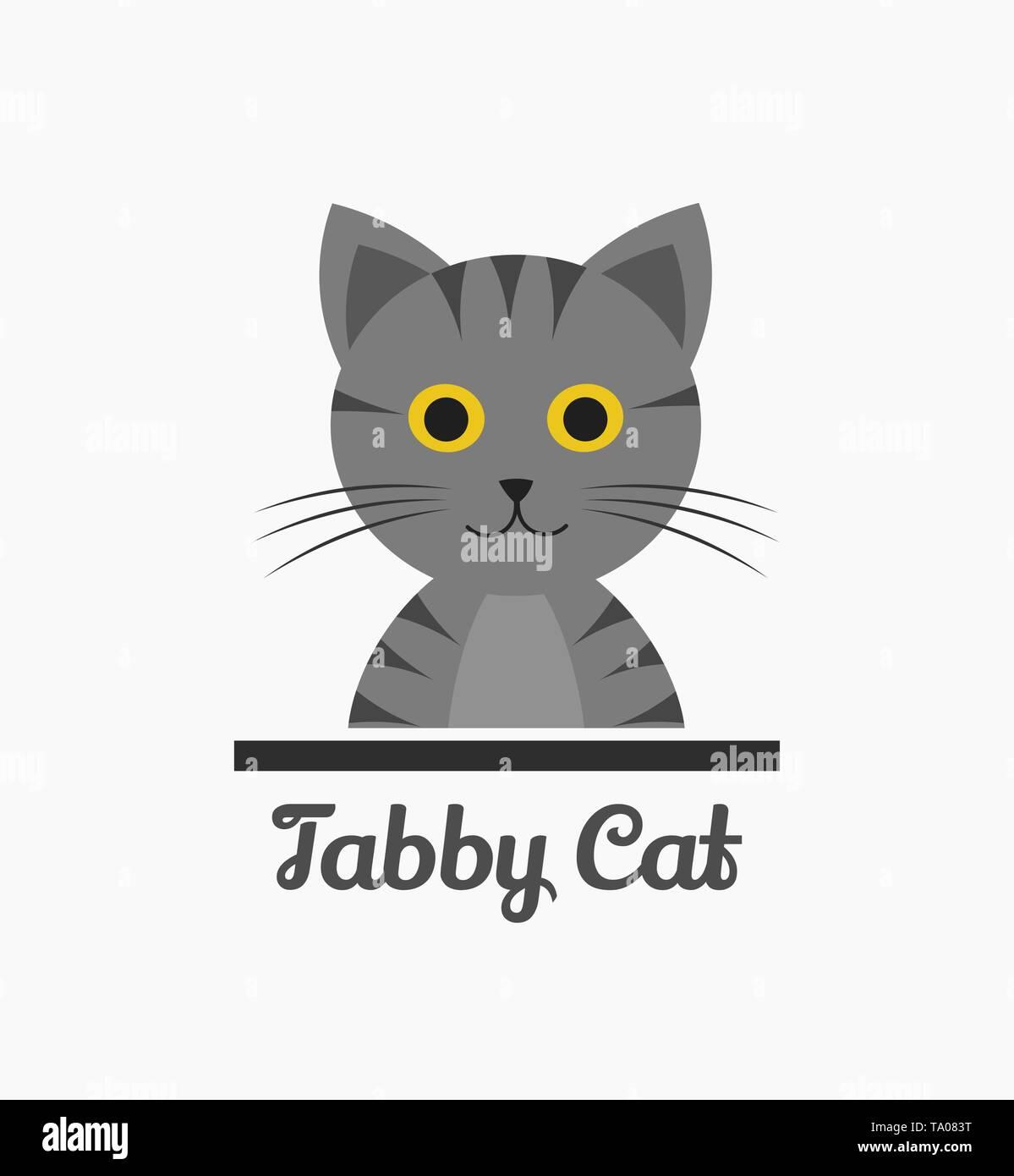 Cute tabby cat. Vector illustration - Stock Image