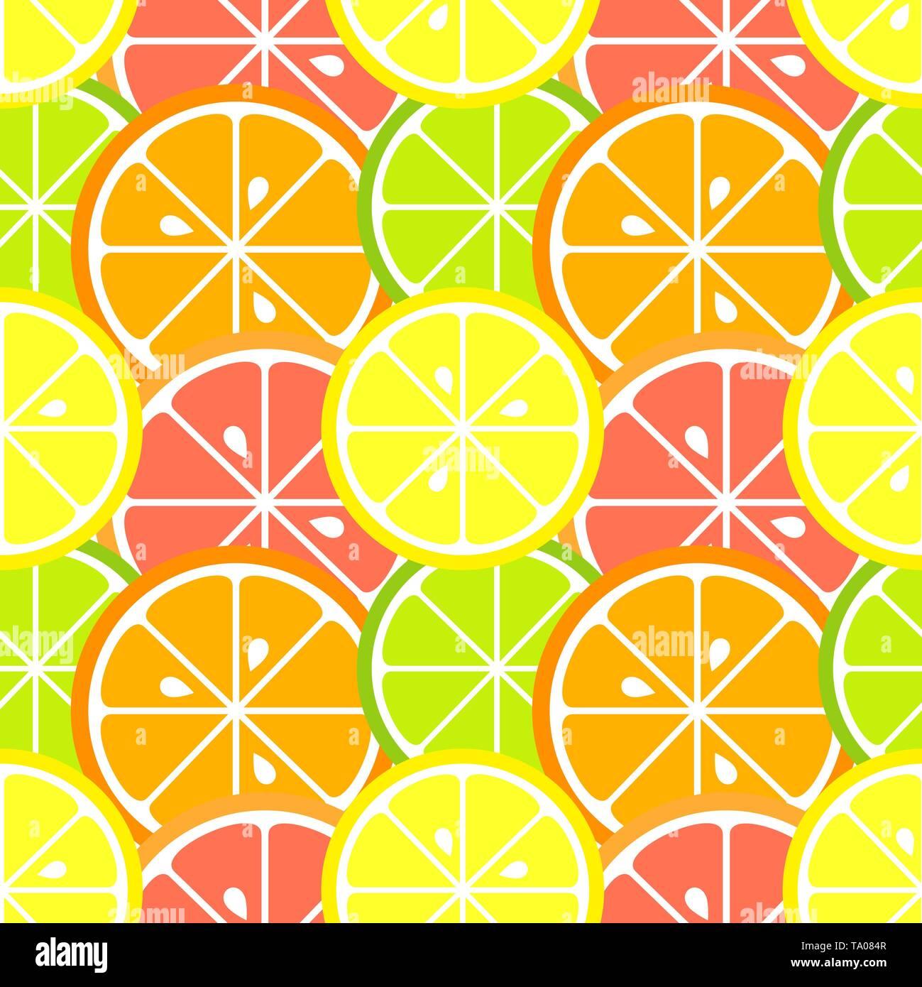 Citrus fruit slices seamless pattern. Vector illustration - Stock Image