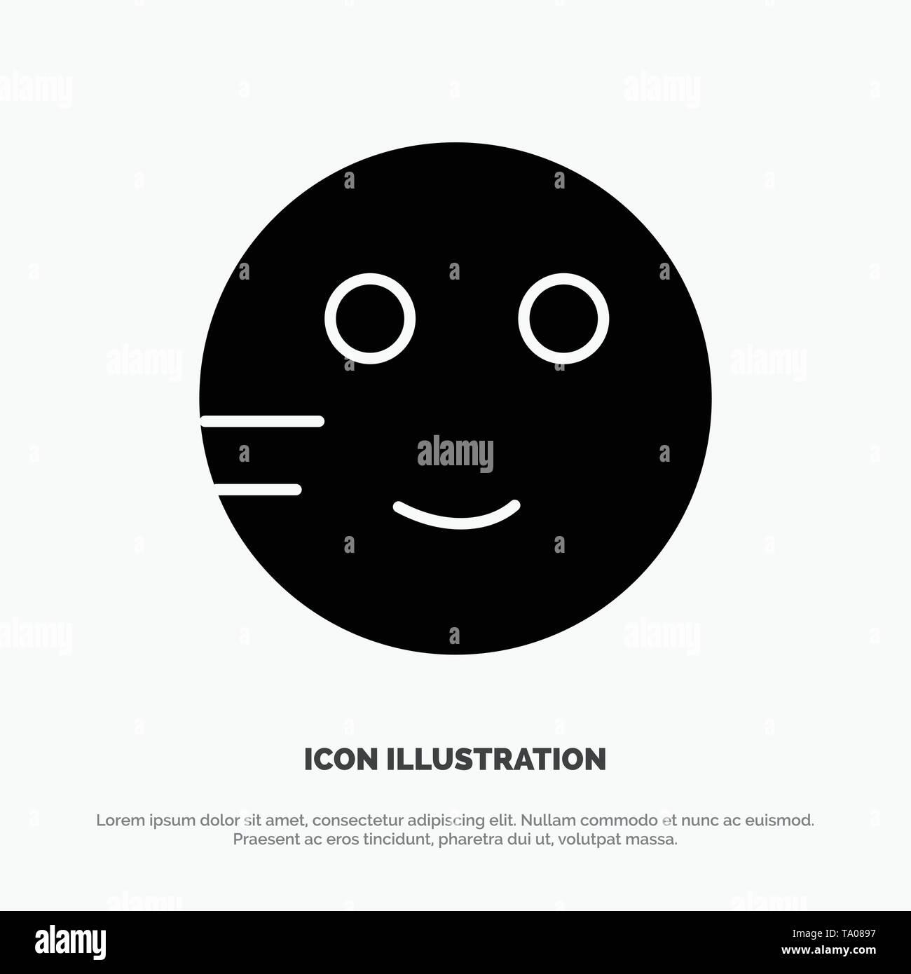 Embarrassed, Emojis, School, Study solid Glyph Icon vector - Stock Image