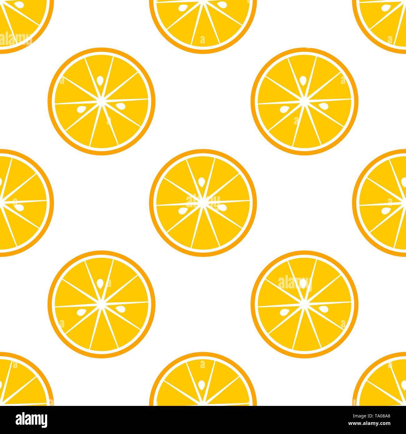 Orange slices citrus pattern. Vector illustration - Stock Image