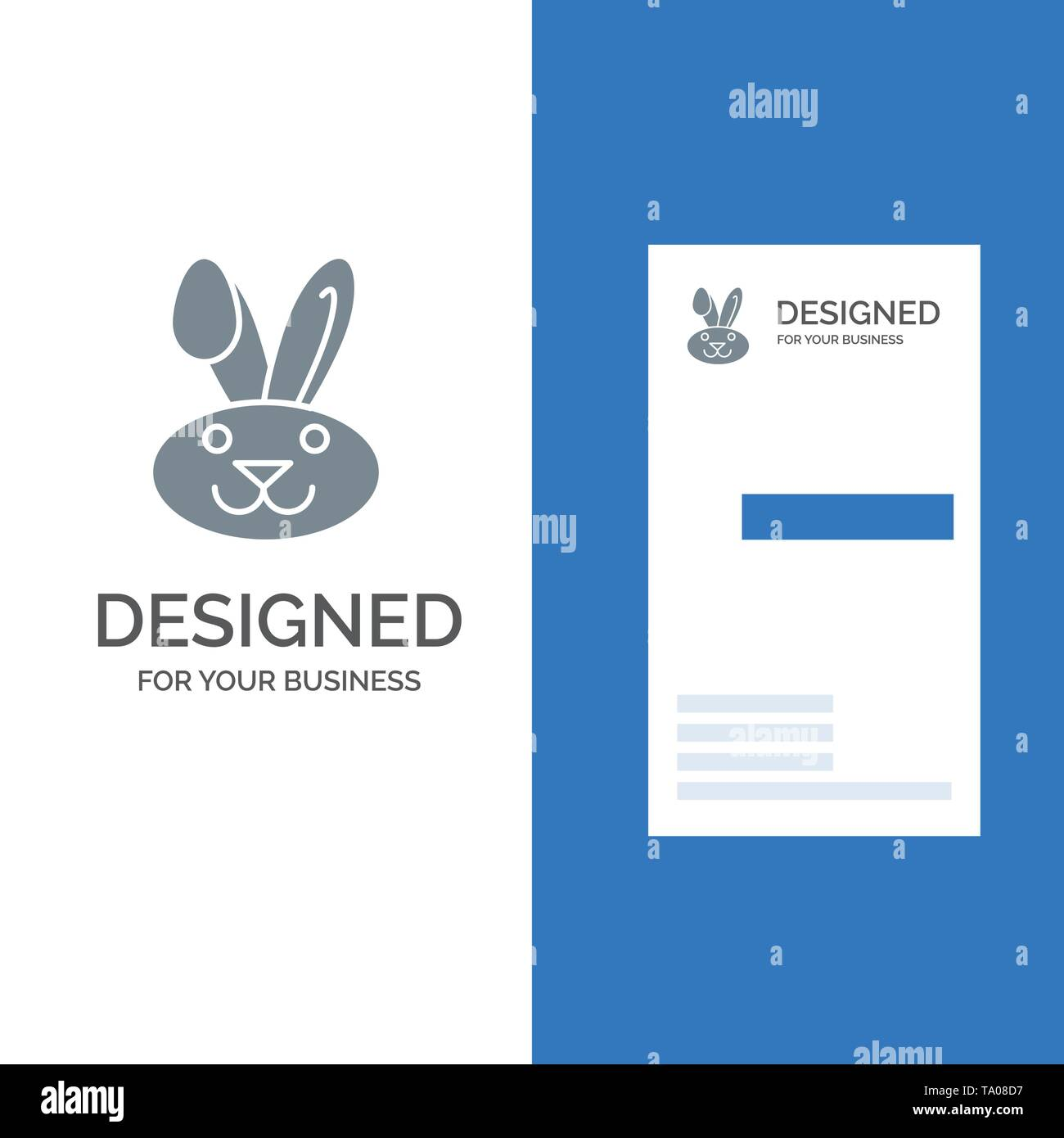 Bunny, Easter, Rabbit Grey Logo Design and Business Card Template - Stock Image