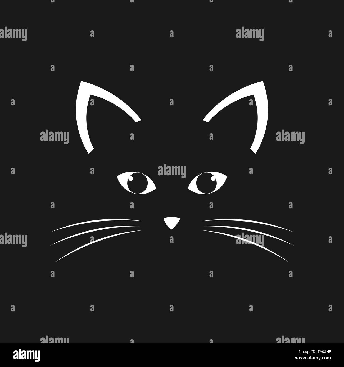 Cat face. Vector illustration - Stock Image