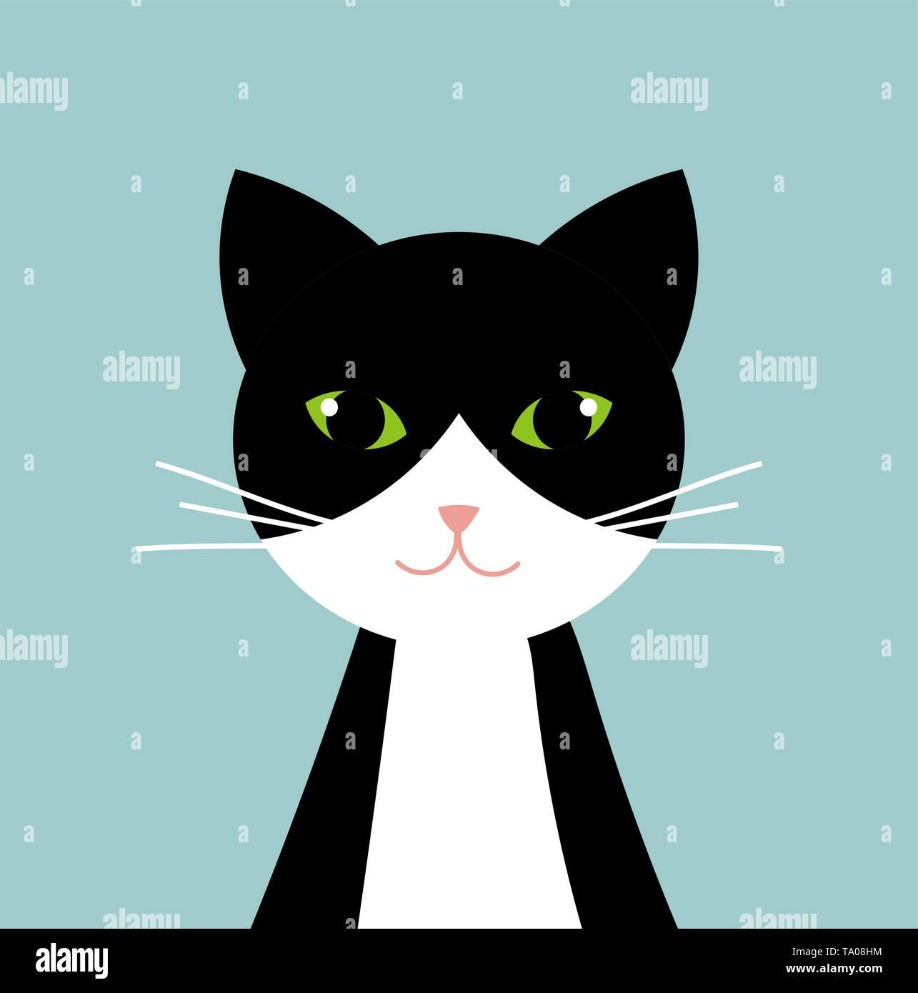 Black and white cat portrait. Vector illustration - Stock Image