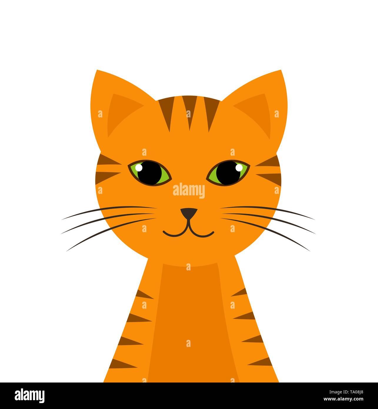 Ginger tiger cat. Vector illustration - Stock Image