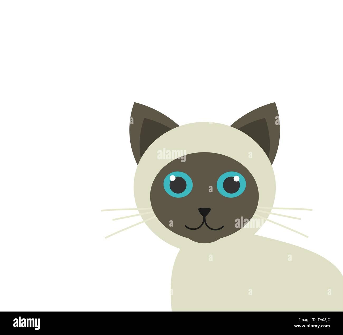 Cute siamese kitten. Vector illustration - Stock Image