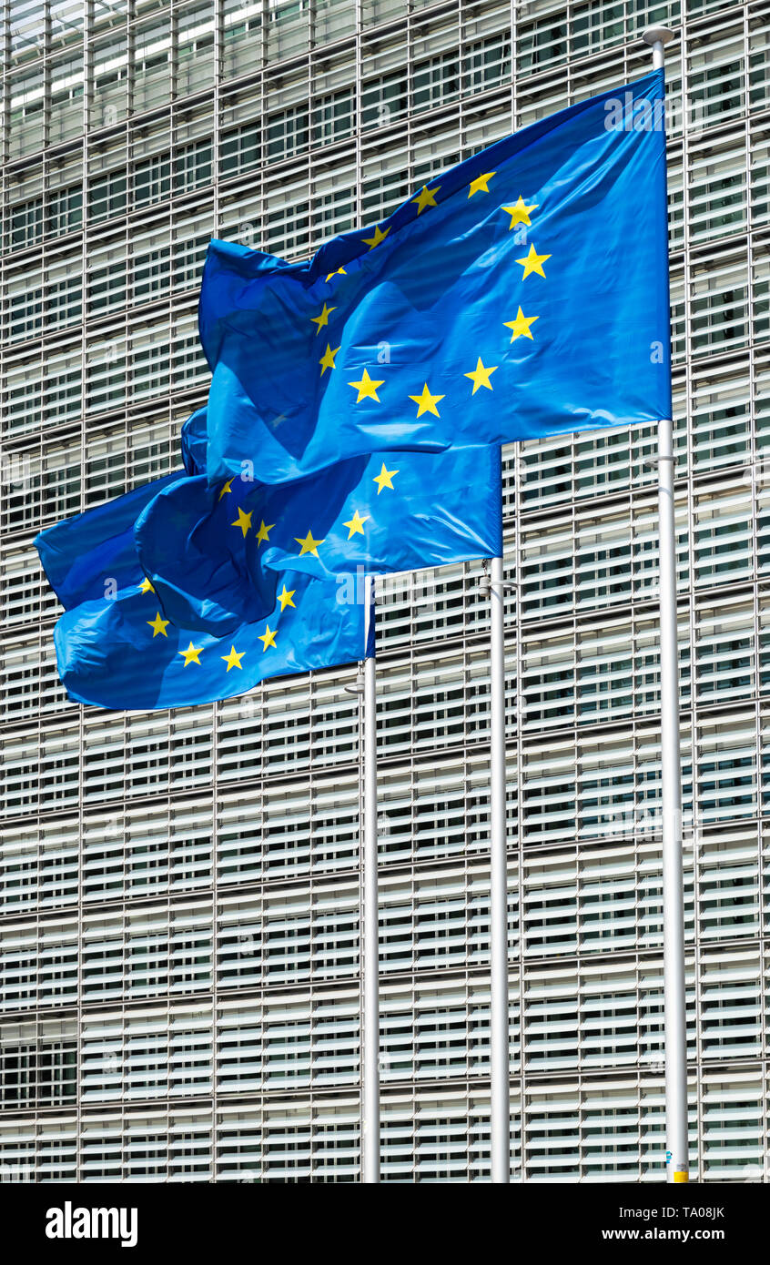 European union flags EU flags outside the EU commission building european commission building Berlaymont building, Brussels, Belgium, EU, Europe - Stock Image