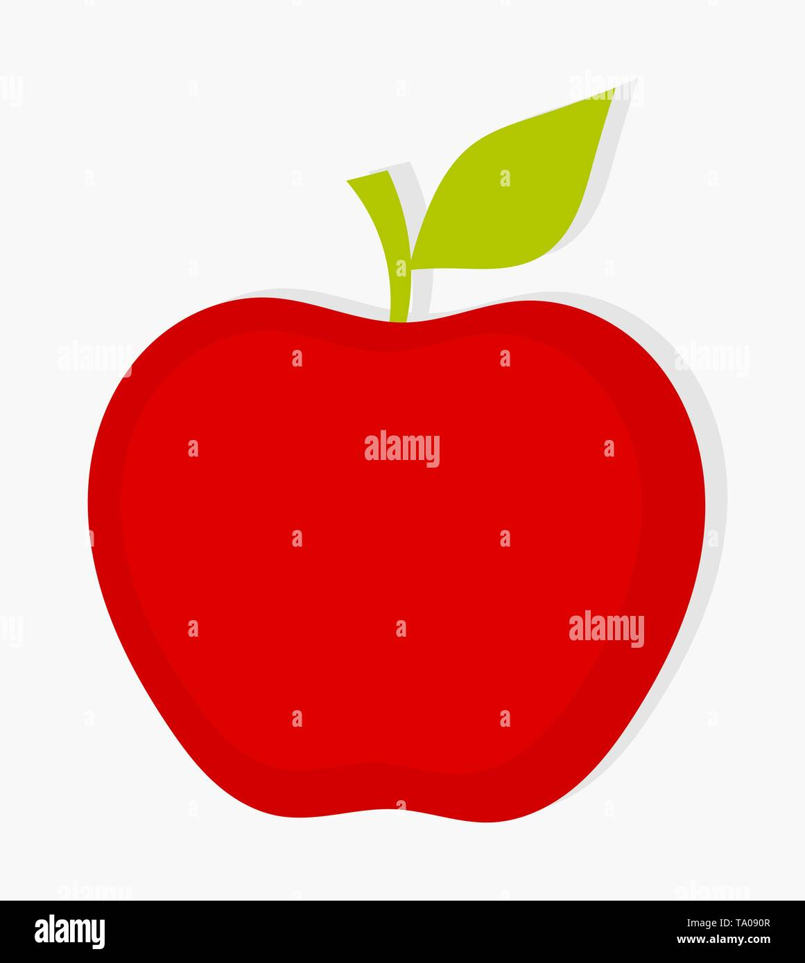 Red apple with green leaf. Vector illustration - Stock Image