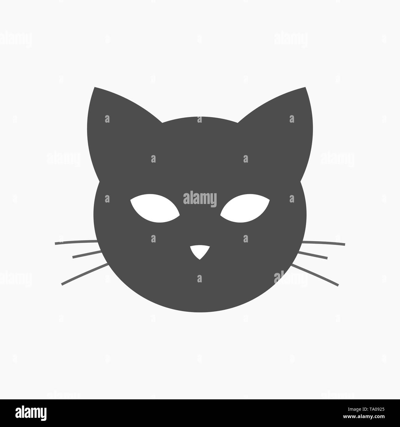 Cat head shape icon. Vector illustration - Stock Image