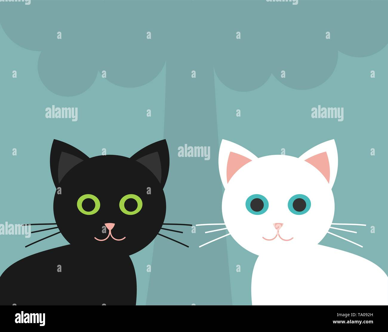 Two cute kittens, black and white. Vector illustration - Stock Image