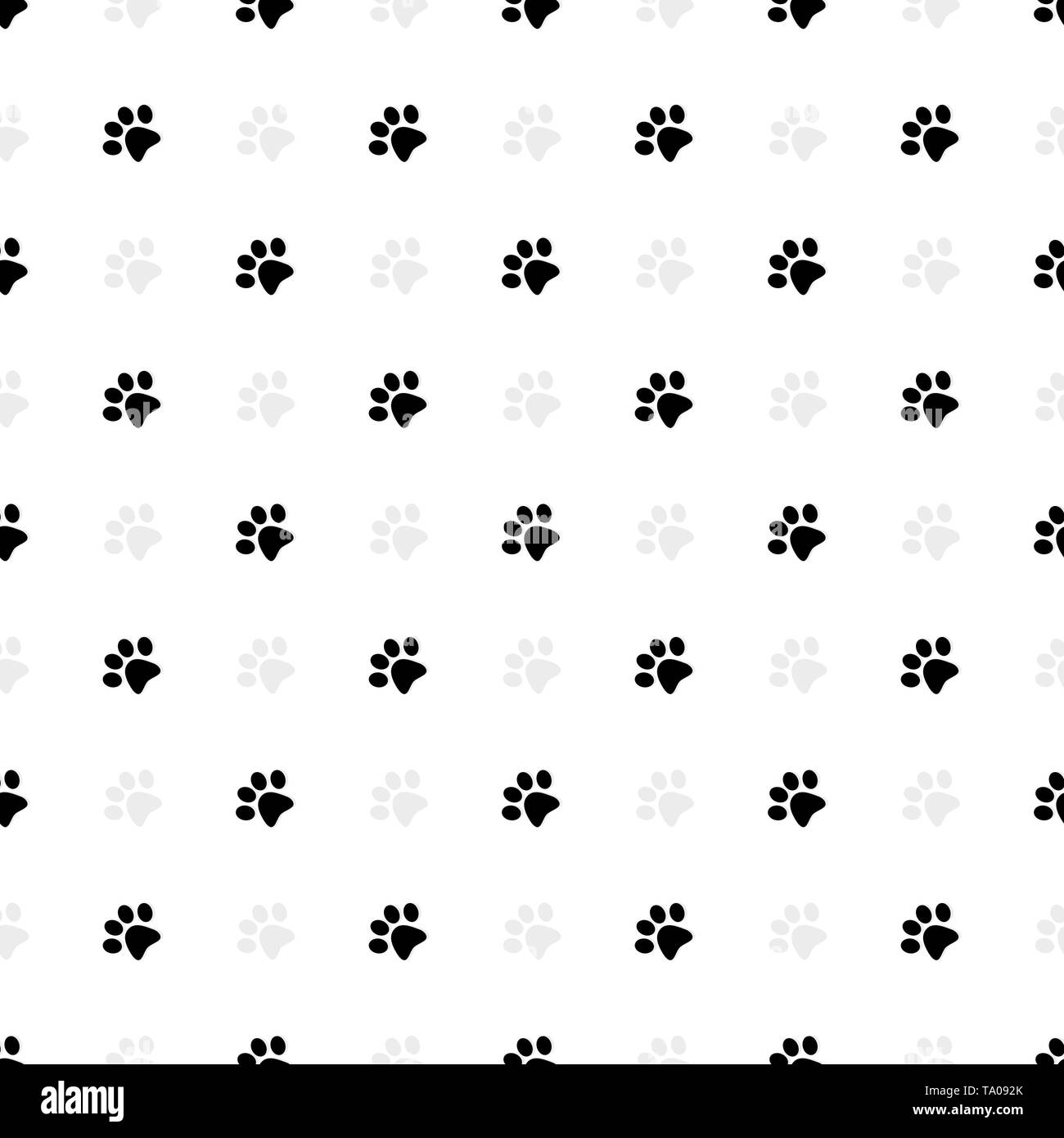 Cat paws prints seamless pattern. Vector illustration - Stock Image