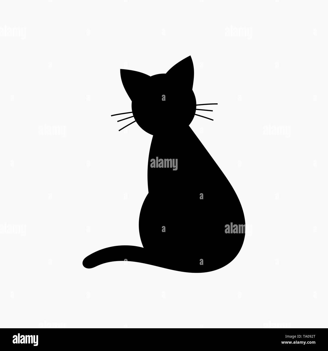 Cat shape icon. Vector illustration - Stock Image