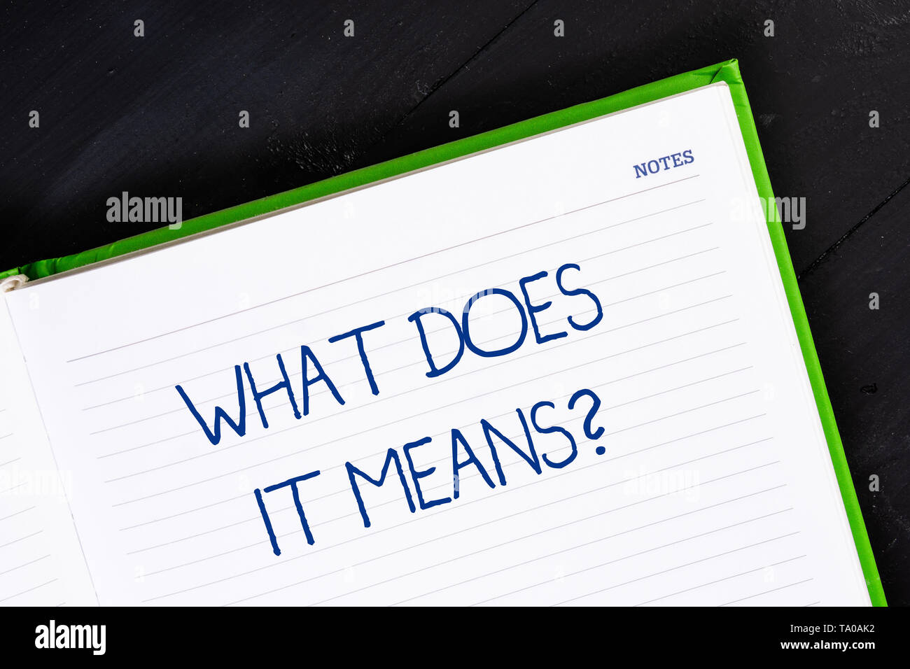 Text sign showing What Does It Means Question. Business photo showcasing asking meaning something said and do not understand Close up view corner blan - Stock Image