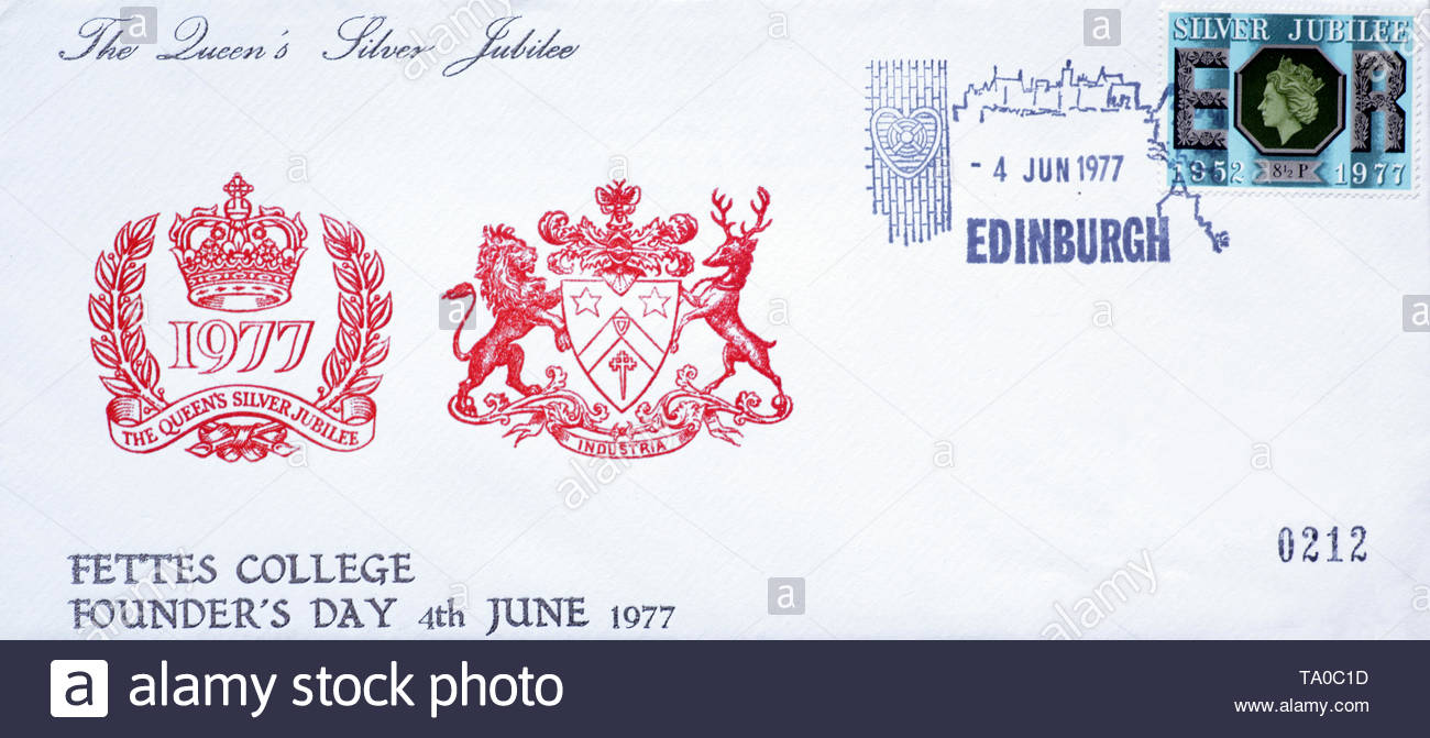 Post Office First Day Cover 1977, The Queens Silver Jubilee Anniversary - Stock Image