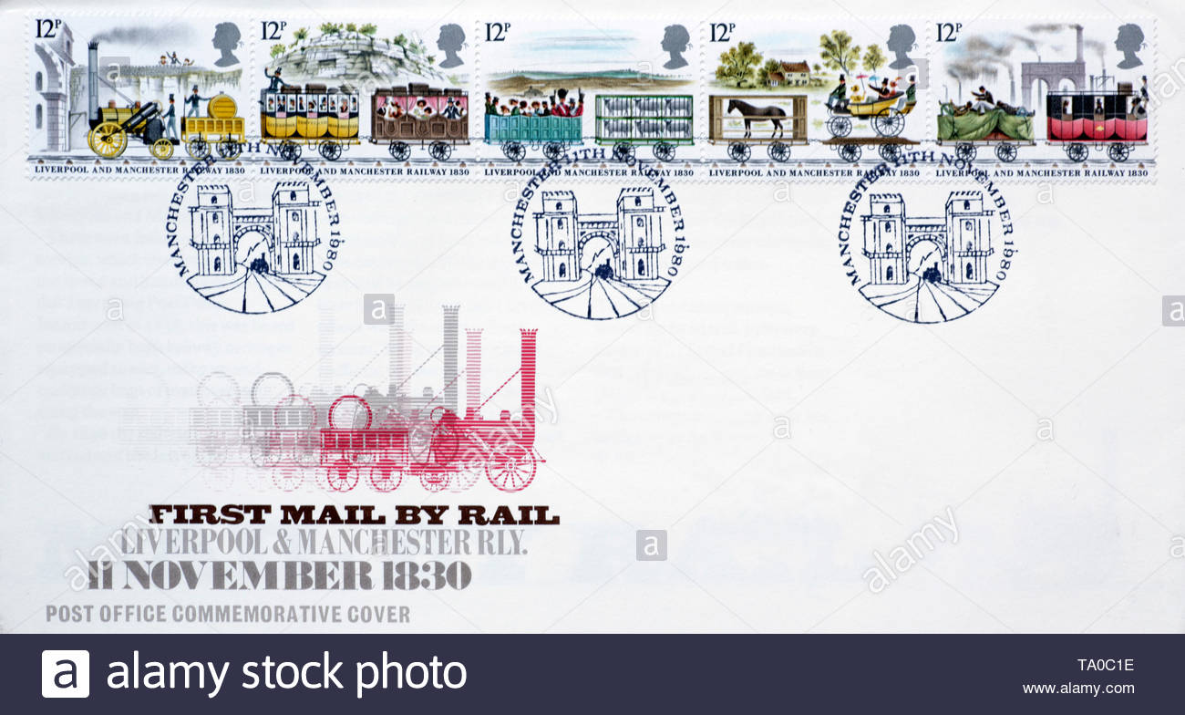 Post Office First Day Cover 1980, First Mail by Rail Liverpool & Manchester Railway 150th Anniversary - Stock Image