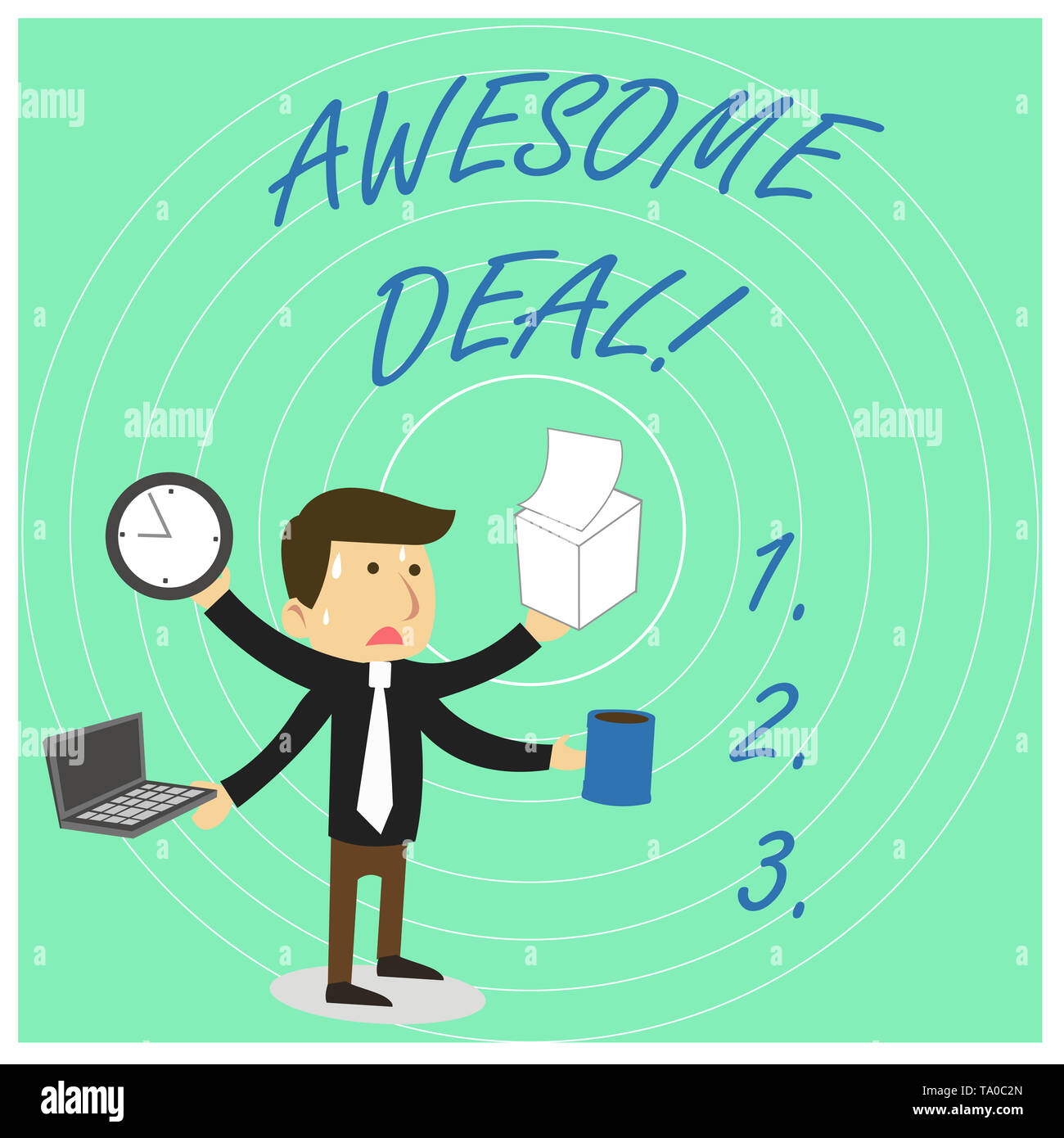 Handwriting text Awesome Deal. Conceptual photo A large but indefinite quantity as like as a good deal of money Stressed Out Male Employee Manager Man - Stock Image