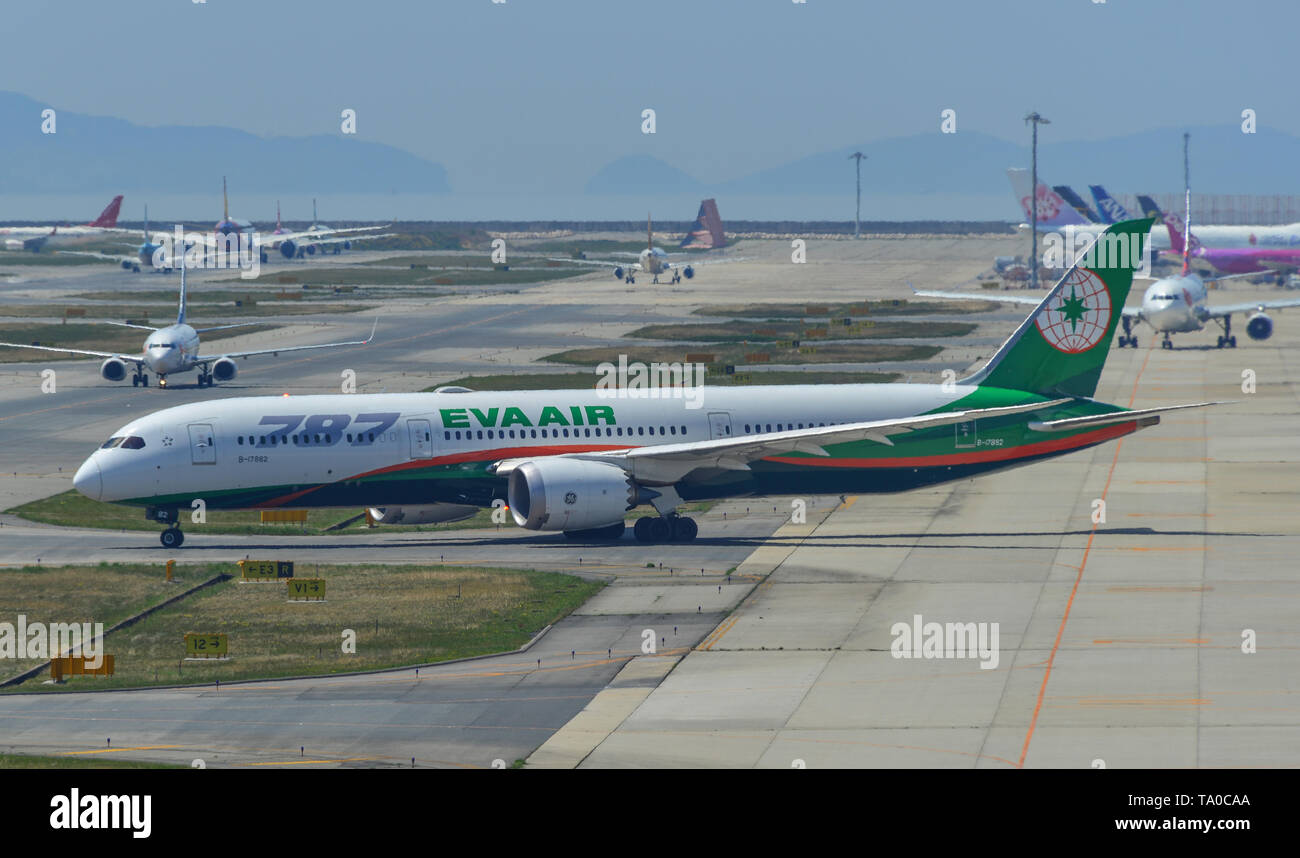 Osaka, Japan - Apr 18, 2019.  B-17882 EVA Airways Boeing 787-9 Dreamliner taxiing on runway of Kansai Airport (KIX) in Osaka, Japan. - Stock Image
