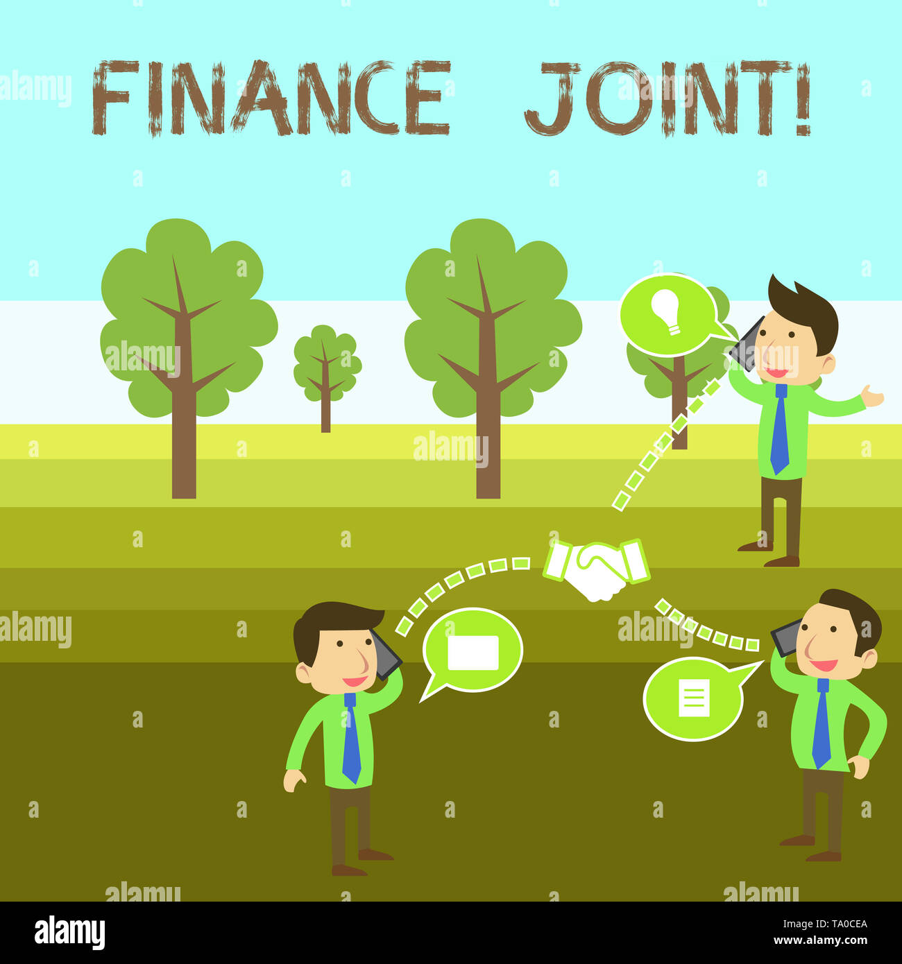 Conceptual hand writing showing Finance Joint. Concept meaning provision of funds for a project came from two or more sources Businessmen Coworker Con - Stock Image
