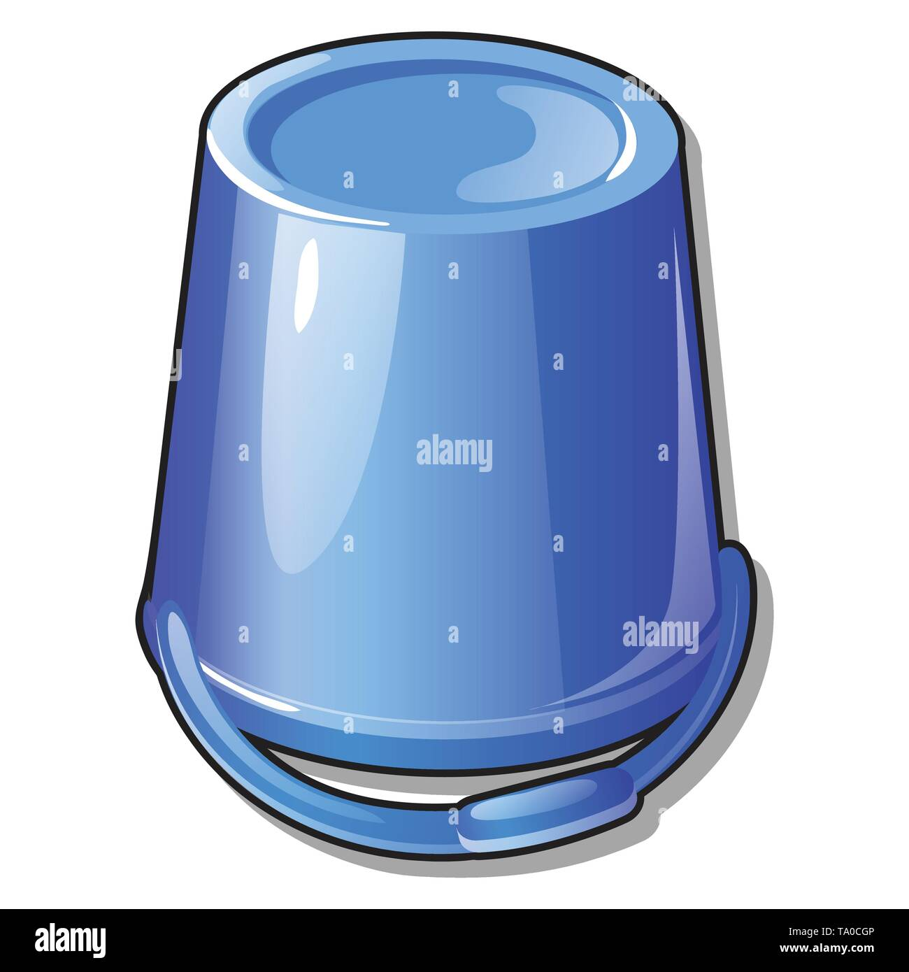 An inverted plastic bucket blue color isolated on white background. Vector cartoon close-up illustration. - Stock Vector