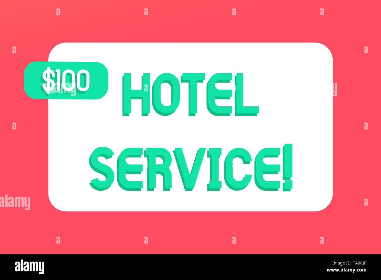 Writing note showing Hotel Service. Business concept for Providing guests warm accommodation and other services Rectangular Text Box Copy Space with G Stock Photo