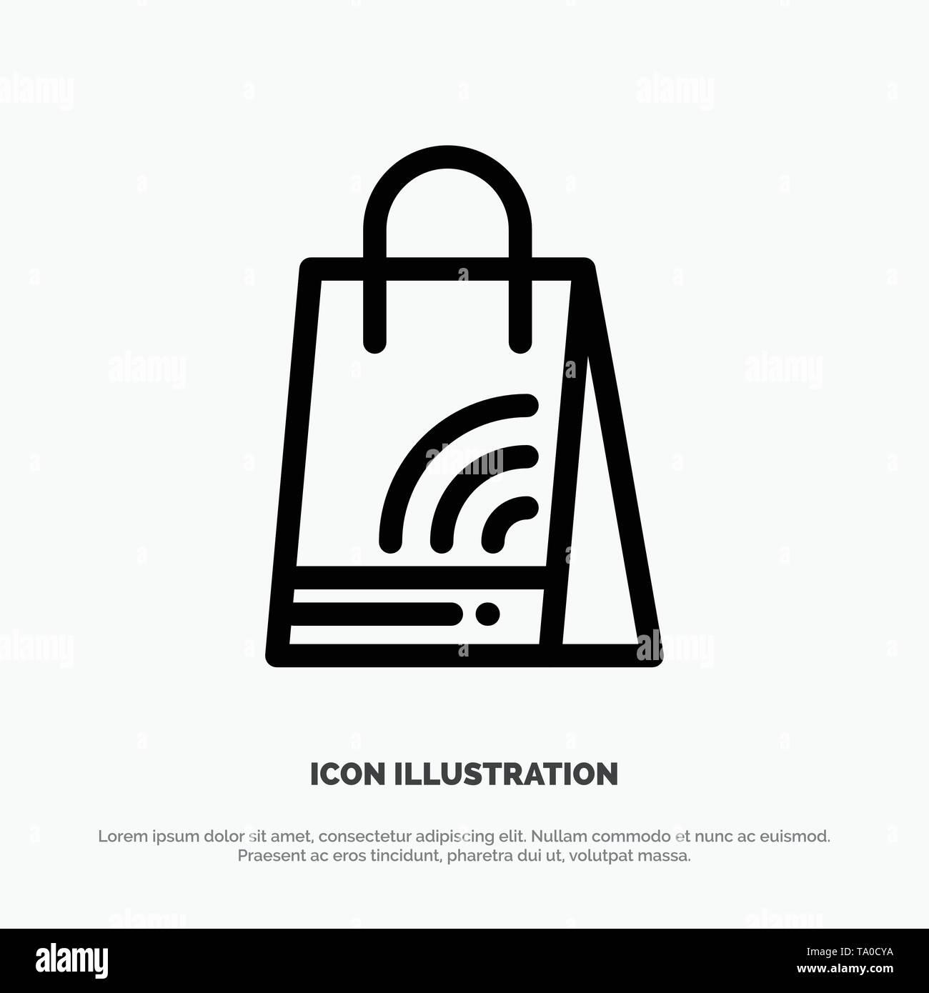 Bag, Handbag, Wifi, Shopping Line Icon Vector - Stock Image