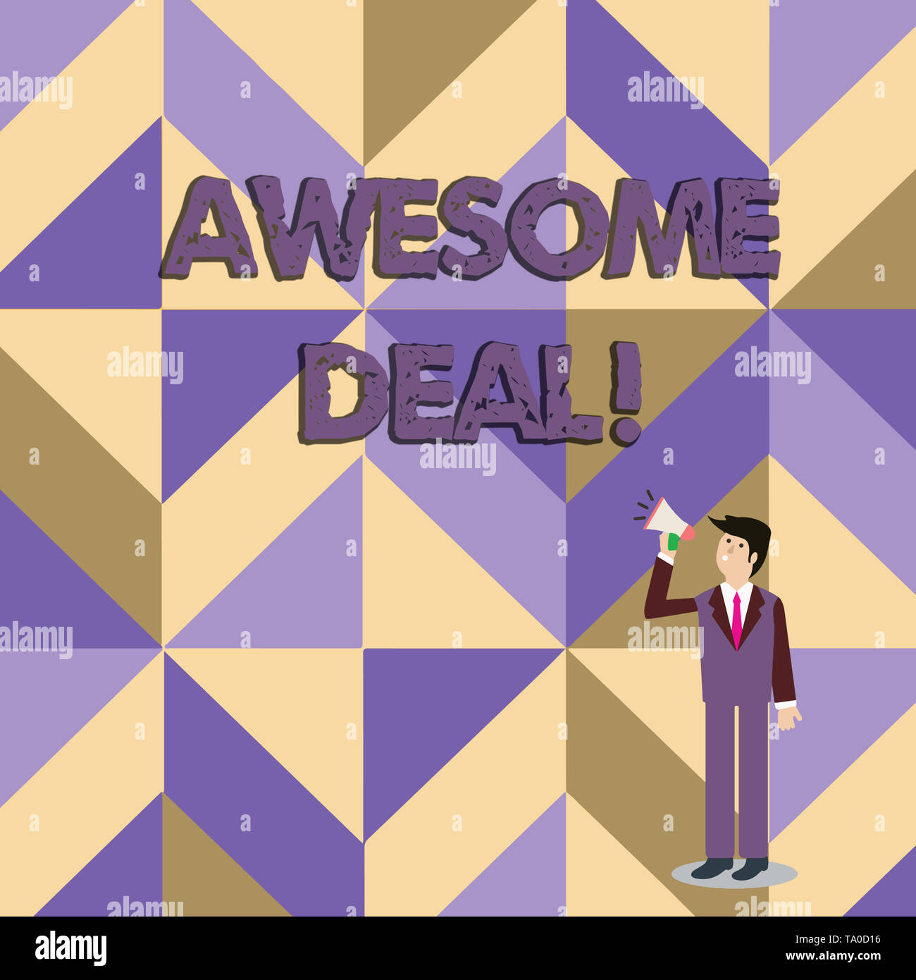 Writing note showing Awesome Deal. Business concept for A large but indefinite quantity as like as a good deal of money Businessman Looking Up and Tal - Stock Image