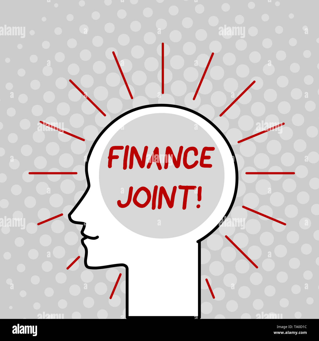 Writing note showing Finance Joint. Business concept for provision of funds for a project came from two or more sources Outline Silhouette Human Head  - Stock Image