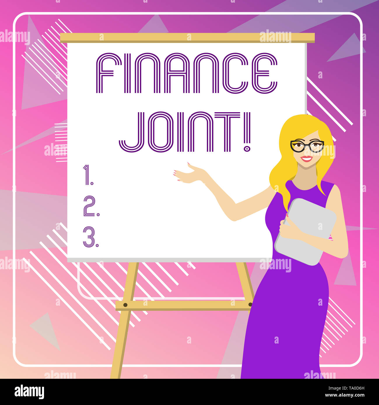 Text sign showing Finance Joint. Business photo showcasing provision of funds for a project came from two or more sources White Female in Glasses Stan - Stock Image