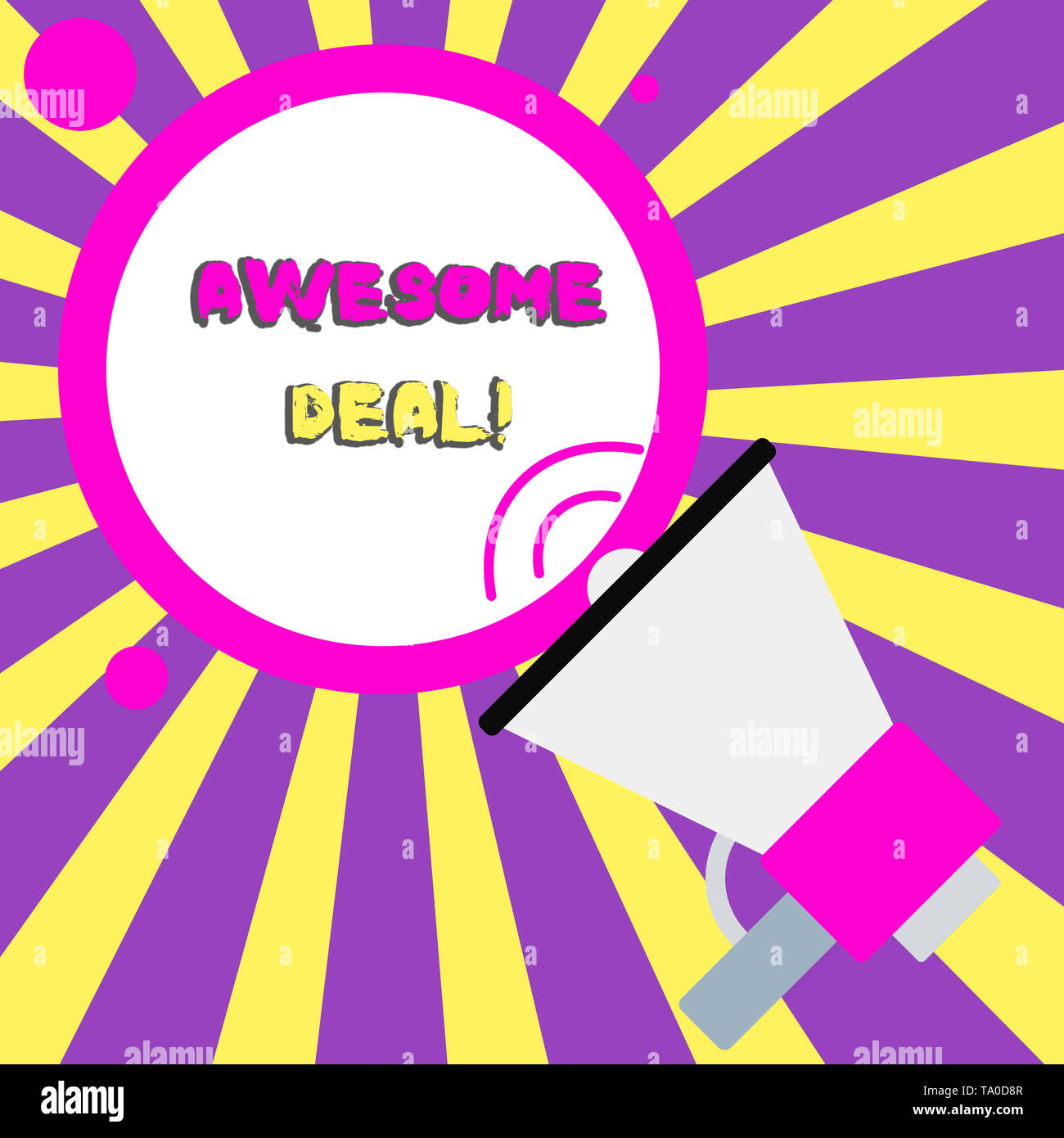 Conceptual hand writing showing Awesome Deal. Concept meaning A large but indefinite quantity as like as a good deal of money Speaking Trumpet Round S - Stock Image