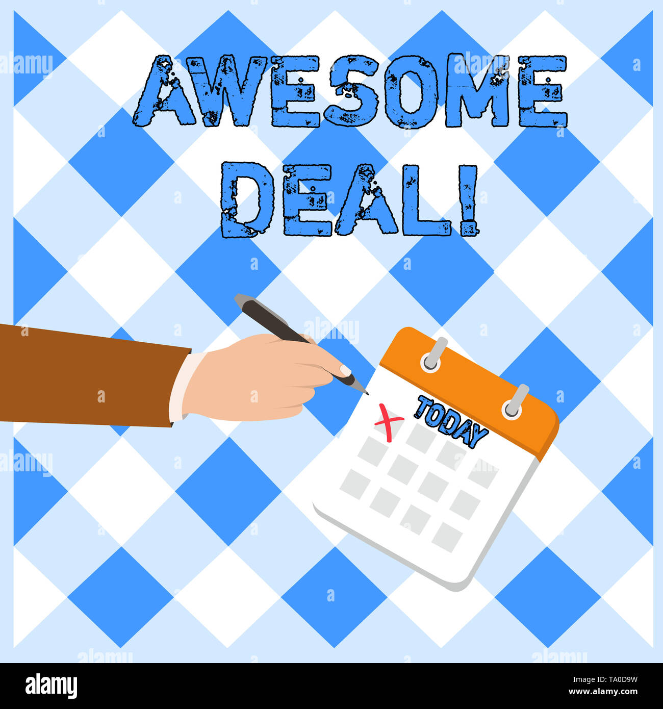 Writing note showing Awesome Deal. Business concept for A large but indefinite quantity as like as a good deal of money Formal Suit Crosses Off One Da - Stock Image