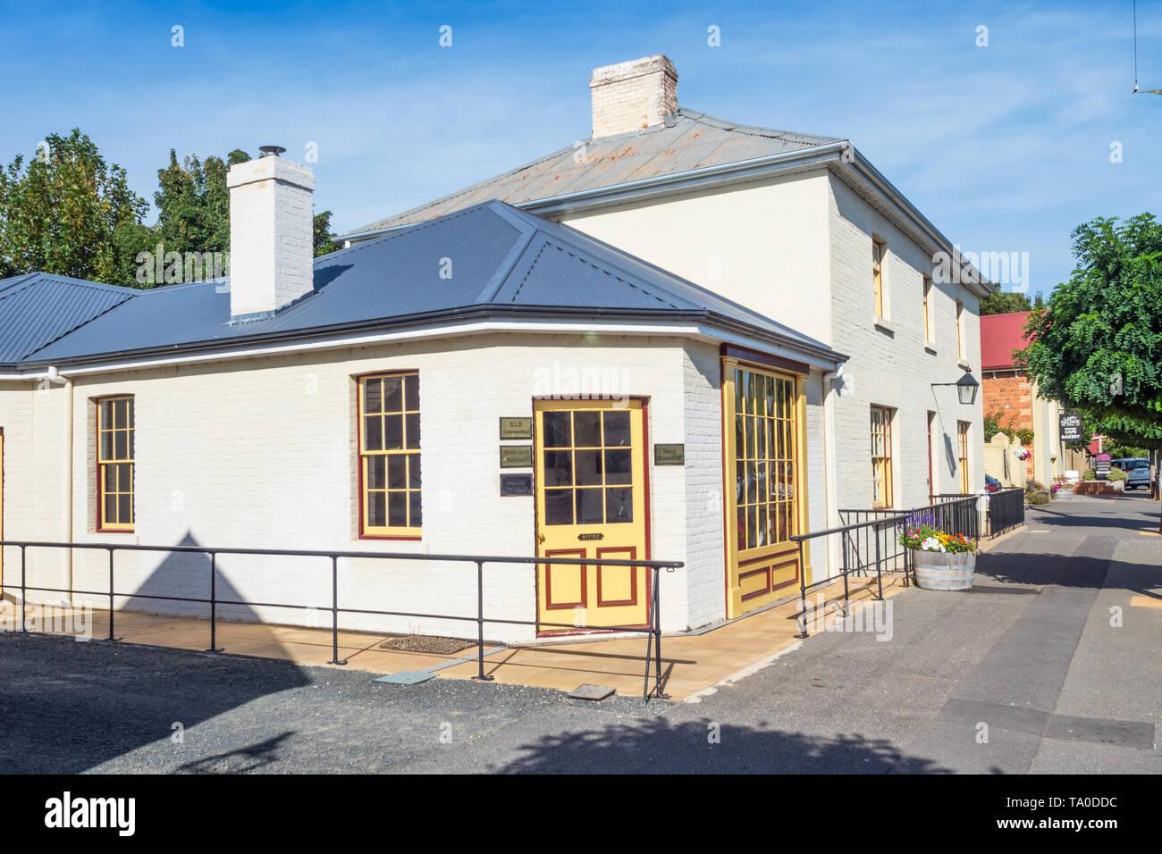 TASMANIA, AUSTRALIA - MARCH 4, 2019: Old buildings in Russell Street, in the historic town of Evandale in Tasmania, Australia. Stock Photo