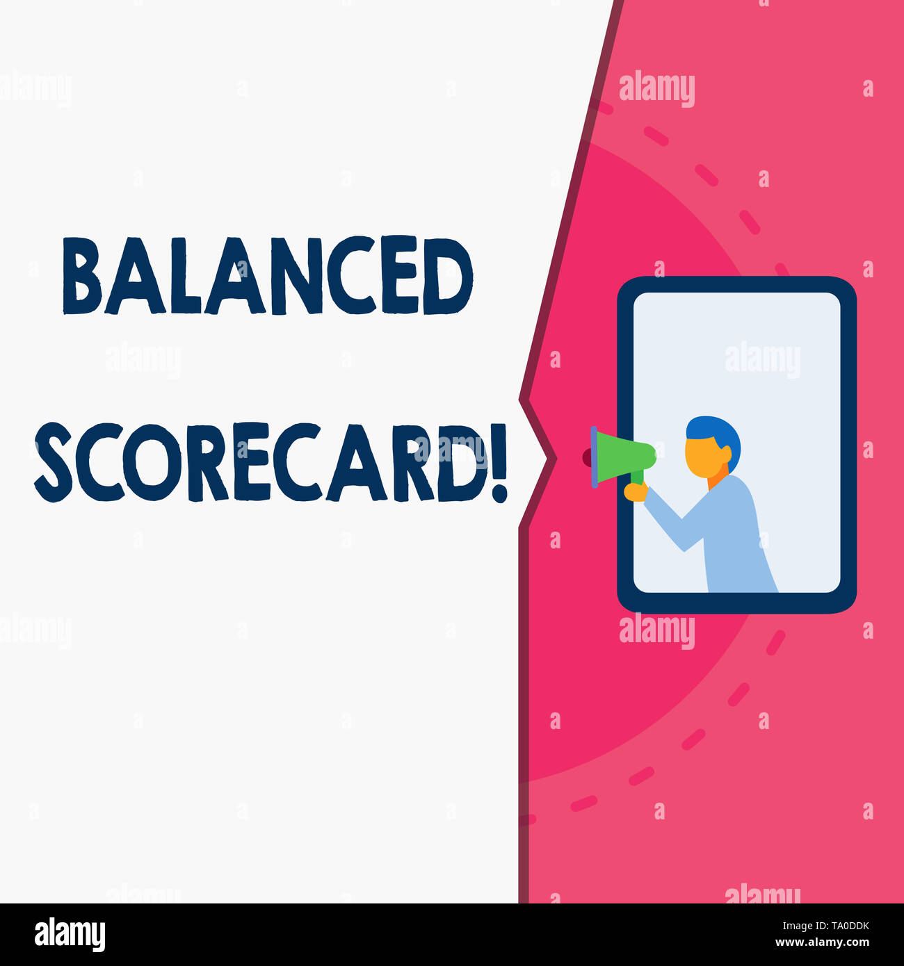 Word writing text Balanced Scorecard. Business photo showcasing a perforanalysisce metric used in strategic analysisagement Man stands in window hold  - Stock Image