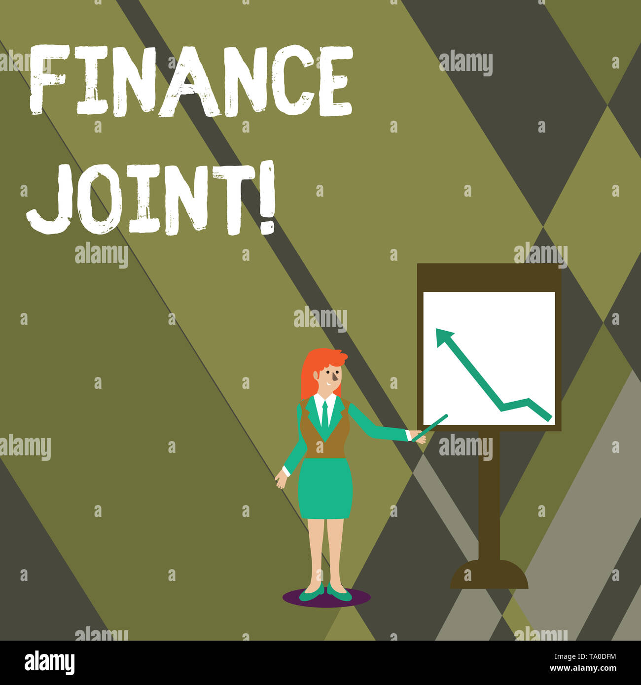Conceptual hand writing showing Finance Joint. Concept meaning provision of funds for a project came from two or more sources Woman Holding Stick Poin - Stock Image