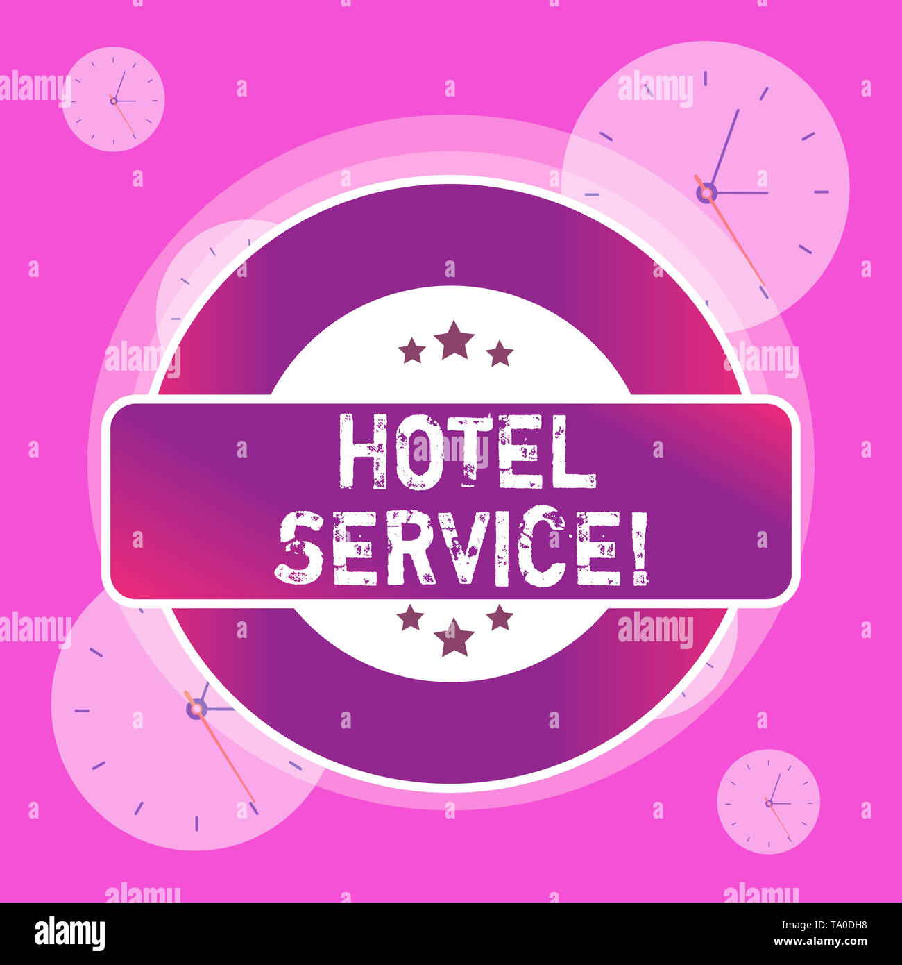 Conceptual hand writing showing Hotel Service. Concept meaning Providing guests warm accommodation and other services Colored Round Shape Label Stars  Stock Photo