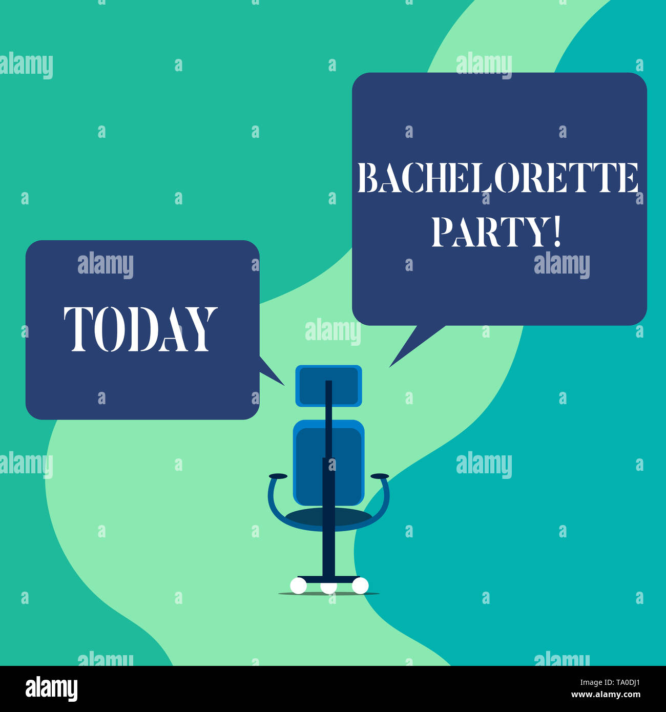 Word writing text Bachelorette Party. Business photo showcasing a party given for a woanalysis who is about to get married Wheeled work chair with thr - Stock Image