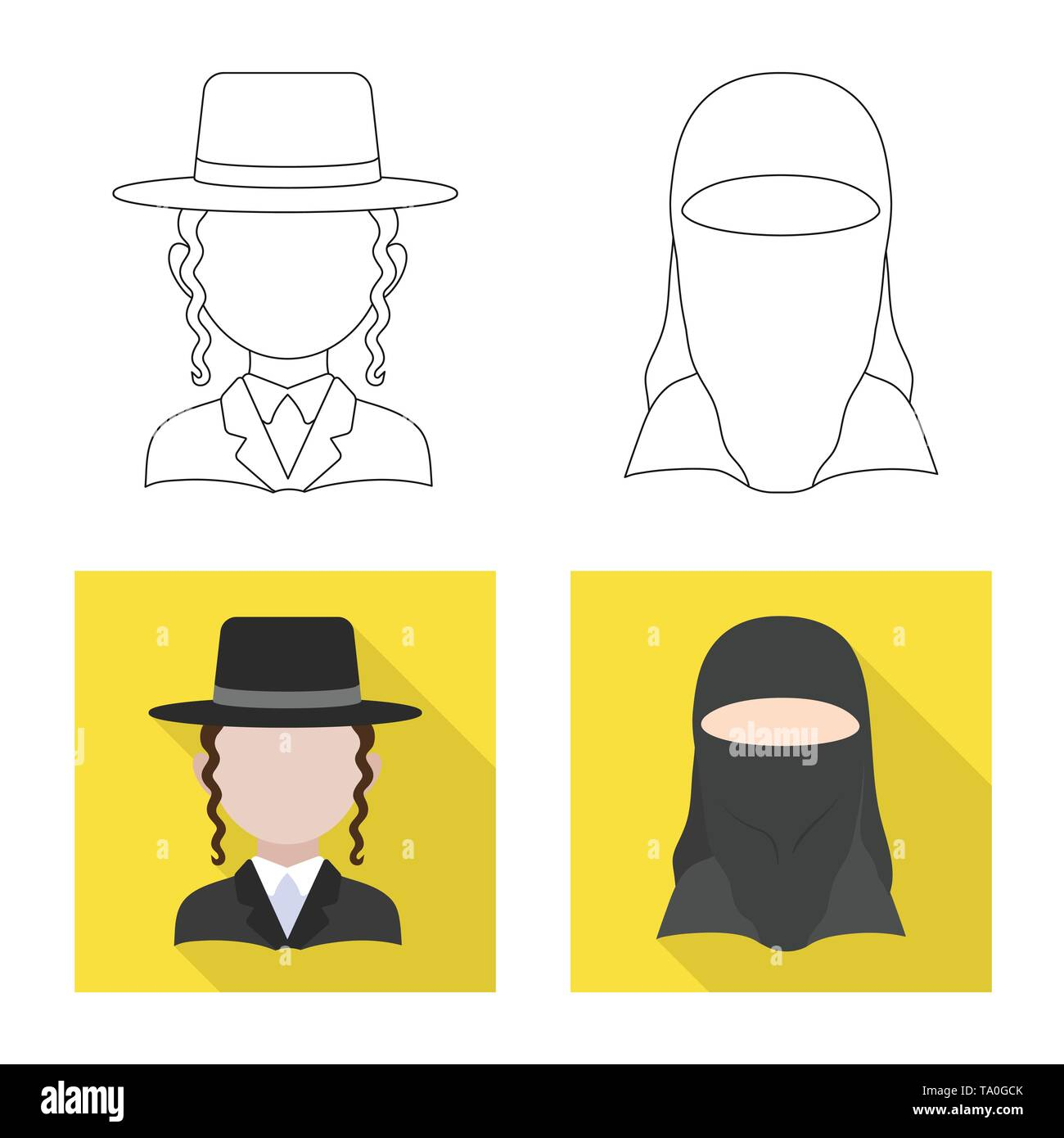 Vector illustration of imitator and resident sign. Set of imitator and culture stock vector illustration. - Stock Image