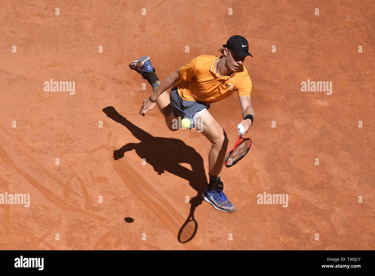 Denis Shapovalov of Canada  in action during the match against Novak Djokovic of Serbia. Roma 16-05-2018 Foro Italico   Internazionali BNL D'Italia It - Stock Image