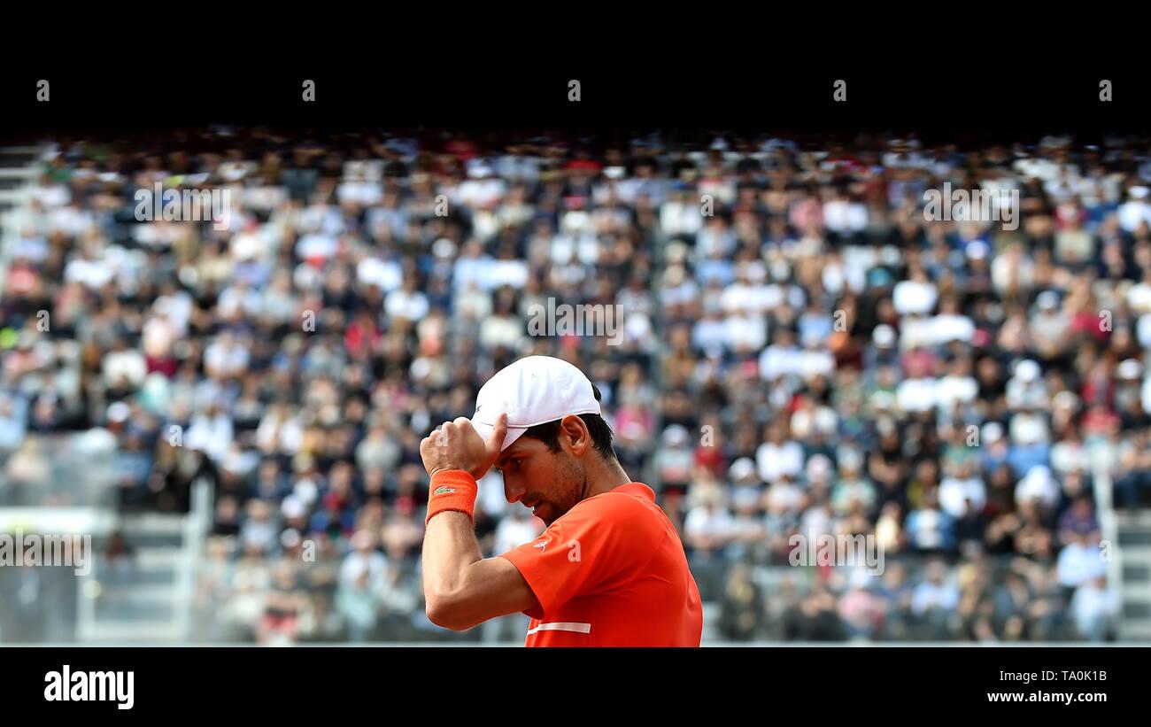 Novak Djokovic of Serbia reacts during the Men's final match played against Rafael Nadal of Spain. Rafael Nadal won 6-0, 4-6, 6-1  Roma 19/05/2019 For - Stock Image